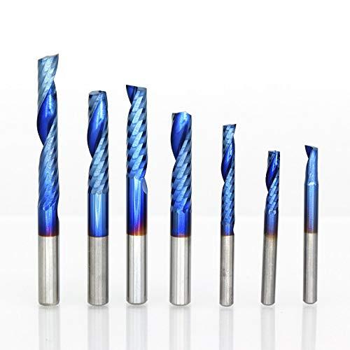 GFHDGTH 1 st 4/6 mm Schacht 1 Fluit Einde Molen Carbide, Einde Molen Blauwe Coating CNC Router Bit Enkele Fluit Einde Molen frees 4x25x45L