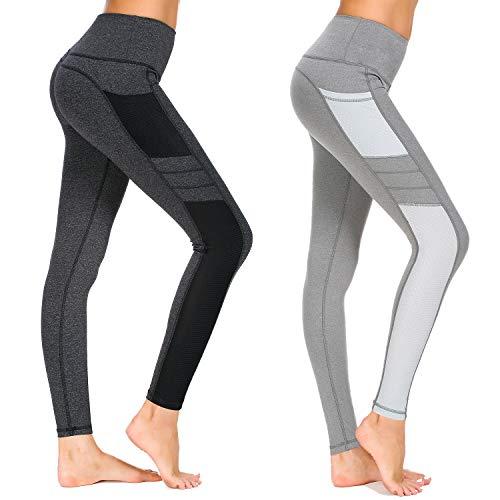 Munvot Damen Sporthose Sport leggings Tights, A1988 / 2er Pack (Dunkel Grau+hell Grau), S (DE36-38)