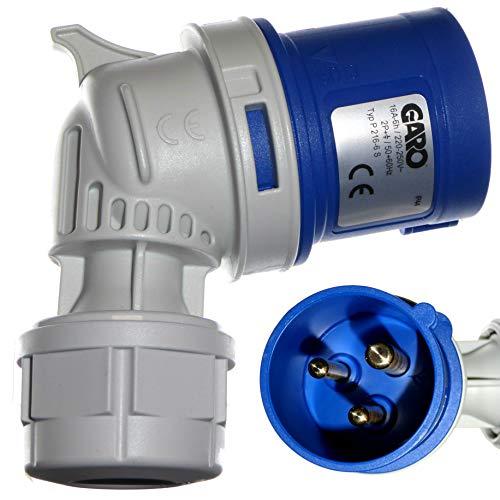 IEC/CEE 16A Winkelstecker - 3-polig 2P + E - 230V blau - Garo PA216-6S