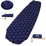 Bessport Isomatte Camping, mit 5.8cm Dicke Schlafmatte Kleines Packmaß Ultraleicht Aufblasbare Luftmatratze - Bequem 40D Ripstop Nylon Matte, ideal für Outdoor, Wandern (Blau)