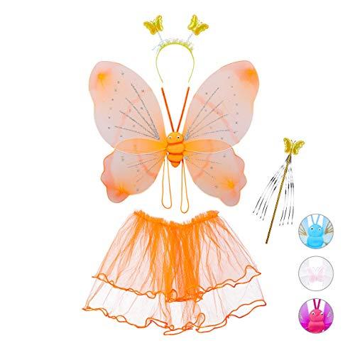 Relaxdays 10027920_57 feeënkostuum voor kinderen, feeënvleugels, toverstaff, rock & haarband, glitter, meisjes, vlinderkostuum, oranje