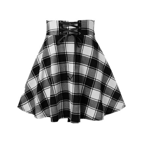 N\P Falda de encaje con estampado a cuadros y falda de línea A para mujer