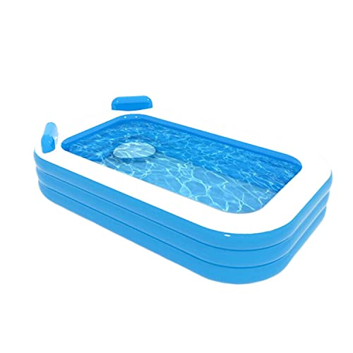 """Mrossa Inflatable Swimming Pool with Seat, Family Full-Sized Lounge Pools Above Ground, Blow up Kiddie Pool for Baby, Adult, Backyard 120"""" x 72"""" x20"""""""
