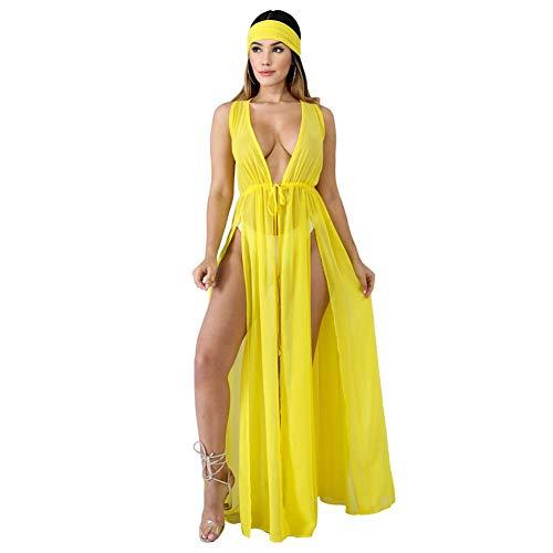 YYH Dames Beachwear zomerjurk van chiffon voor de zomer, bloemenpatroon, lange kimono, cardigan XL Geel