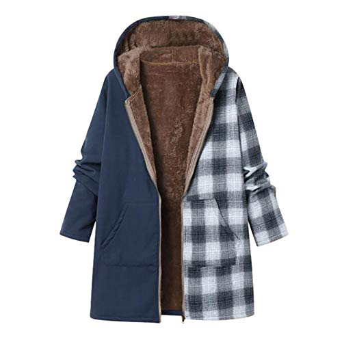 WYZTLNMA Womens Cotton Coat Jacket Women Winter Warm Outwear Zipper Plaid Print Pocket Vintage Oversize Coat Streetshirt Blue