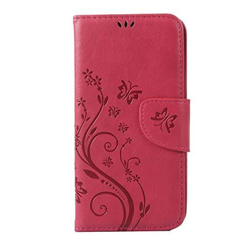 Sangrl Funda para BQ Aquaris E5, Libro Cuero de la Premium PU Leather Case [Card Holder] [Stand Function] Concha de Patrón de Flor de Mariposa - Rosa roja