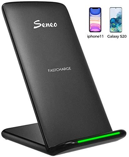 Seneo Wireless Ladestation, 10W Schnelles Kabelloses Ladegerät für Galaxy S20/S10/S10+/S9/S9+/S8/S8+/Note 10/9/8, 5W für iPhone SE/11/Pro Max/XS/XS Max/XR/X/8/8+ und Alle Qi Handys (Kein Adapter)
