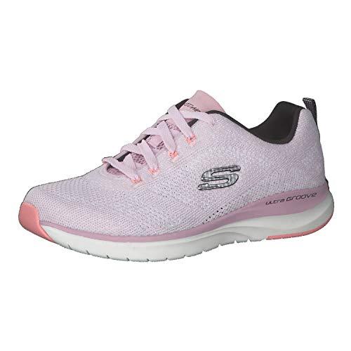 Skechers Women's Ultra Groove Lace Up Sneaker Pnk/Blk 10 Medium US
