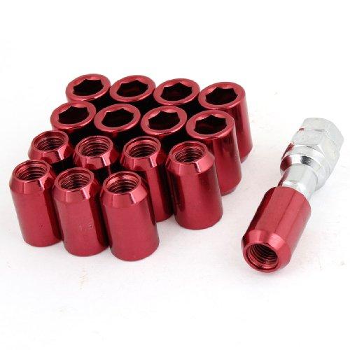 sourcingmap Voiture de roue pneu MG12 x 1,5 cannelées Drive Coffret écrous Rouge Lot de clés Allen - 16 w