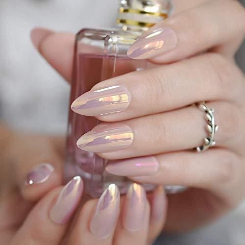 CLOAAE Mocha Pink Mirror False Nails Chrome Imitation Nail Glass Surface Glossy Effect Ladies False Nails 24