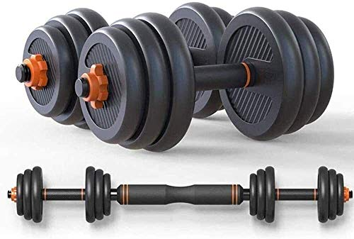 DAGCOT Adjustable Dumbbell Gym Bicep Weight Training barbell weight lifting with 2 connectors, for home fitness training, detachable, sports equipm (Size : 20kg)