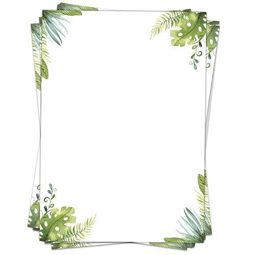 Briefpapier Design-Motiv Aquarell Blätter grün - 50 Blatt, DIN A4 Format, Papier beidseitig bedruckt