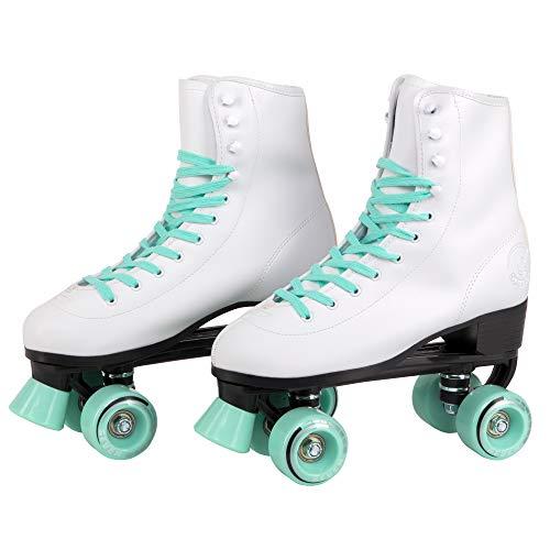 C SEVEN C7skates Soft Faux Leather Quad Roller Skates (Mint, Women's 10 / Men's 9)