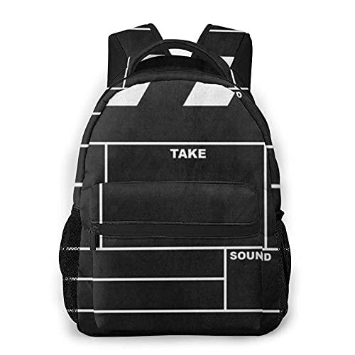 AOOEDM Classic Movie Clapboard nero moda casual zaino portatile borsa da viaggio, zaino per computer portatile, grande capacit?e borsa da scuola resistente, zaino per sport all'aria aperta ?un rega