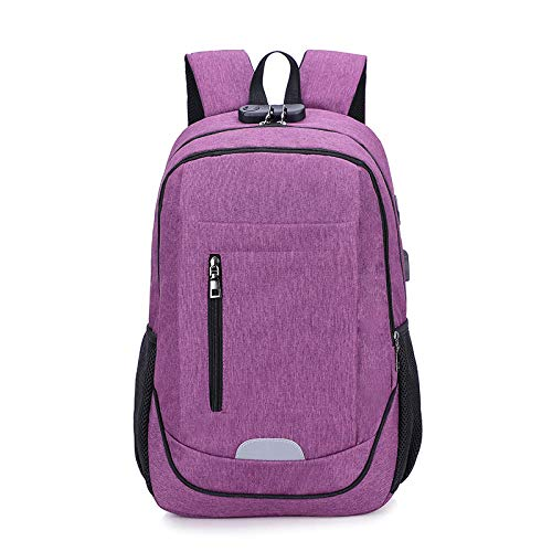 Studententasche Studententasche mit großem Fassungsvermögen Computerrucksack USB Outdoor-Multifunktions Lila