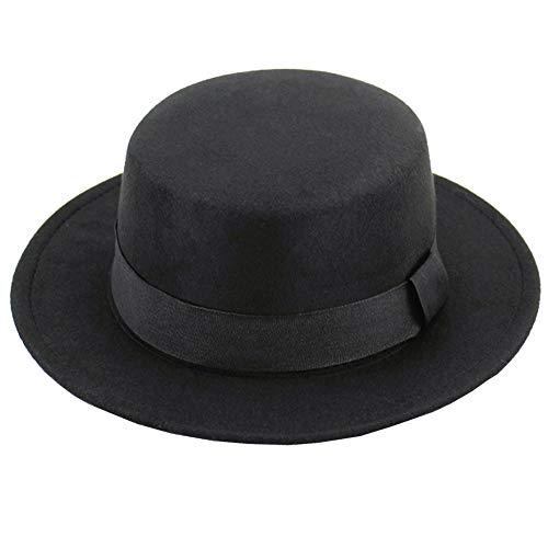 VASANA Unisex Klassische schwarze Fashion Fedora Flat Hat Kirche Derby Cap Elegante Jazz Hüte Wide Brim Kirche Derby Cap Perfekt für Hochzeit Party Talent Show