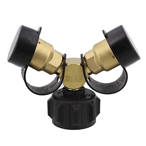 Dumble Propane Tank Adapters LP Gas Line Splitter 2 Way Hose Tee Y Propane Splitter - 2 Acme QCC1 Thread and Female POL