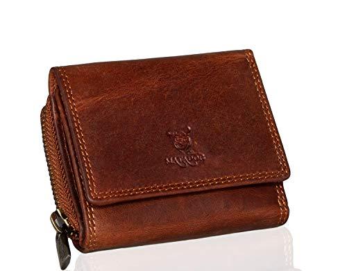 MATADOR® CHIQUITO Echt Leder Klein Geldbörse Damen Mini Geldbeutel Herren TüV geprüfter RFID & NFC Schutz inkl. Geschenk-Box (Vintage Braun)