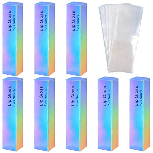 50 Pieces Lip Gloss Boxes Laser Color Holographic Lipstick Wrapping Perfume Essential Oil Bottle Packaging Box and 50 Pieces Clear Shrinkable Film for DIY Lip Gloss Packaging, 4.21 x 0.9 x 0.9 Inch