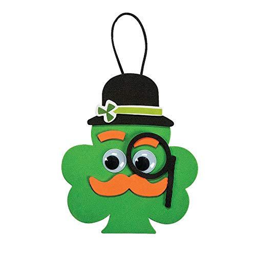 Shamrock with Mustache Ornament Ck - Crafts for Kids and Fun Home Activities