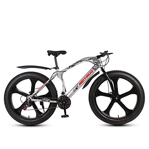 Nerioya Erwachsenes Mountainbike, Doppelscheibenbremsen 4,0-Zoll-Reifen Mit Übergröße 26-Zoll-21-Gang 27-Gang 3-Messer 5-Messer-Schneemobil,J,26 inch 24 Speed