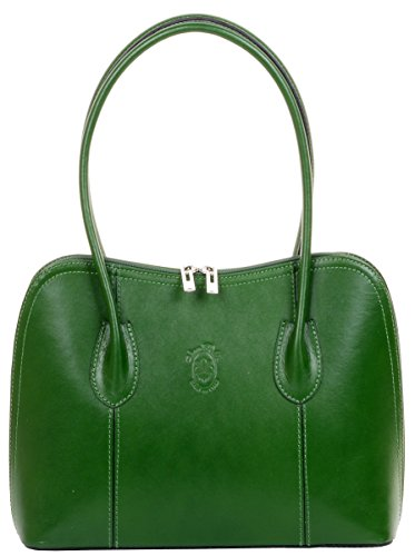 Primo Sacchi Italian Smooth Leather Green Classic Long Handled Handbag Tote Grab Bag Shoulder Bag