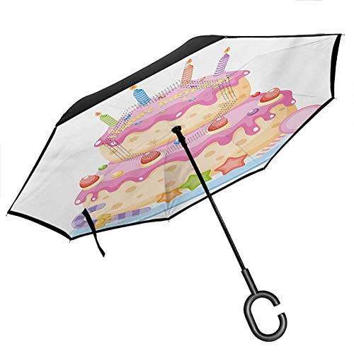 Kids Birthday Car Reverse Umbrella Pastel Colored Birthday Party Cake with Candles and Candies Celebration Image Windproof UPF50+ Big Straight Umbrella for UV Protection & Rain, 42.5'x31.5'Inch
