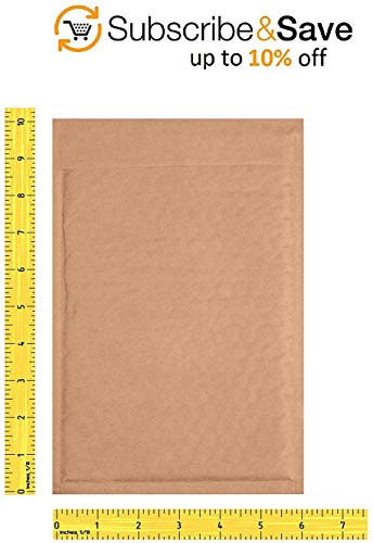 Pack of 250 Natural Kraft Bubble mailers 6x9 Brown Padded envelopes 6 x 9 by Amiff. Kraft Paper Cushion envelopes. Exterior Size 6x10 (6 x 10). Peel and Seal. Mailing, Shipping, Packing, Packaging. Photo #8
