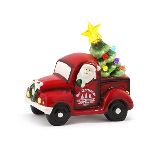 Mr. Christmas Ceramic Truck with Tree 5.5' Christmas Décor, Red