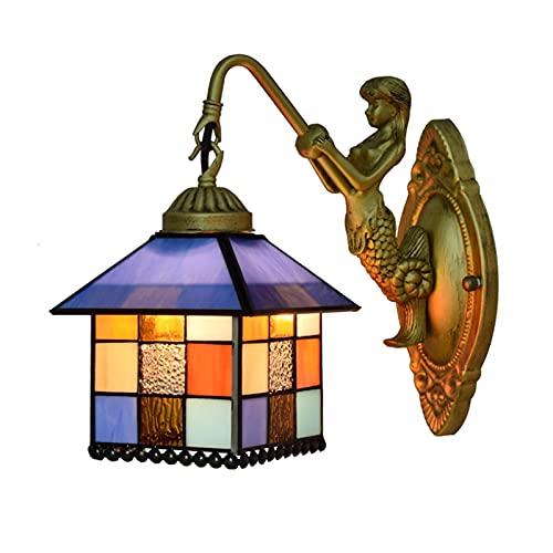 AWCVB Lámpara De Pared De 6 Pulgadas Lámpara De Pared Estilo Tiffany con Tulipa Pintada De Estilo Mediterráneo para Sala De Estudio Comedor Pasillo Balcón