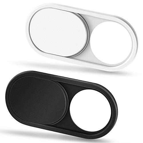 CloudValley Tapa Camara Portatil, 0.6mm Ultrafino Metal, Tapa Webcam para Portatil, MacBook Pro, MacBook Air, PC, Tableta, iPad Pro, Mac, Phone, 2 Unidades, Negro & Blanco