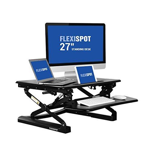 """FLEXISPOT 27"""" (69cm) M1B Escritorio de pie con una Bandeja de Teclado más Amplia Elevador de Escritorio de Altura Ajustable (Negro)"""