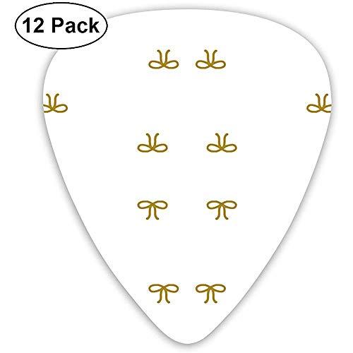 12 Pack Gold Bow Ties gouden strikken op wit behang gitaar picks complete gift set voor gitarist