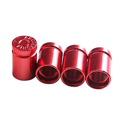 KKmoon 4 Stücke Auto Ventilkappen Universal Reifen Ventilkappen Abdeckung für Auto Motorrader PKW LKW Offroad Rot