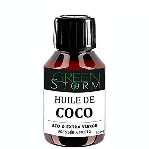HUILE DE COCO 100% BIO 60ml Extra vierge pressé à froid idéale pour soin du corps et alimentation Greenstorm