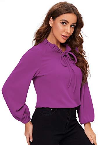 SheIn Women's Long Sleeve Front Bow Tie Ruffle Collar Elegant Blouse Shirt Tops Purplish Red Large