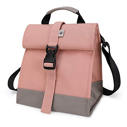 Sunny Bird Insulated Lunch Bag Pink Lunch Box Small Cooler Bag for Women Girls Adults and Teens Pink