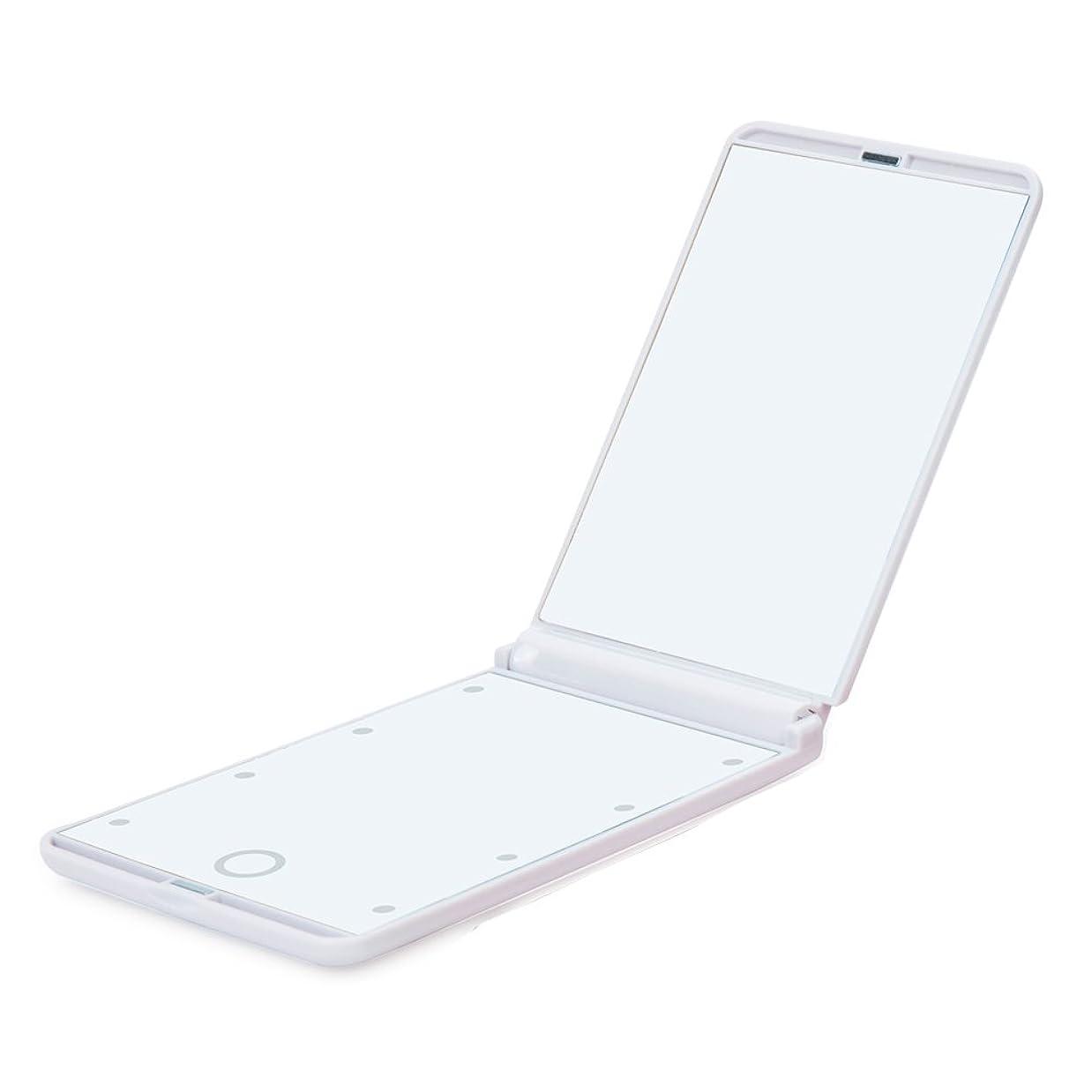 四分円落ち着いて触手led化粧鏡 8LEDライト付き 折りたたみ コンパクト 角型タイプ 持ち運び便利 2倍拡大鏡付 ホワイト