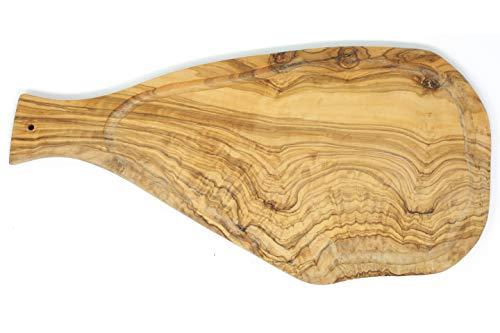 Benera Oliveholz Schneidbrett Küchenbrett 45cm mit Griff und Saftrille auch zum Servieren und Anrichten