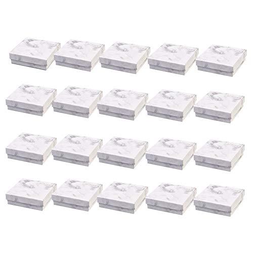 Baalaa 20 cajas de cartón de papel blanco mármol para joyas, caja de transporte para collares, pulseras, pendientes cuadrados