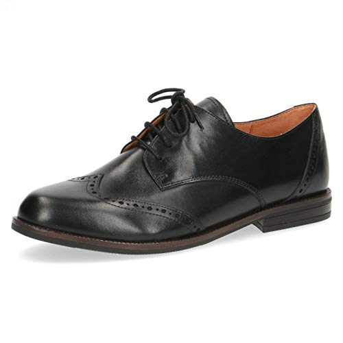 CAPRICE Damen Schnürhalbschuhe, Frauen Businessschuh, schnürschuh Full-Brogue Derby schnürung Business-Schuh anzugschuh,Black Nappa,40.5 EU / 7 UK