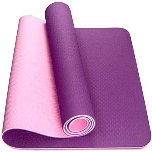 Colchoneta de gimnasia antideslizante colchoneta de yoga antidesgarro colchoneta de ejercicio con correa para el hombro, perfecta para yoga, fitness, pilates, gimnasia-púrpura