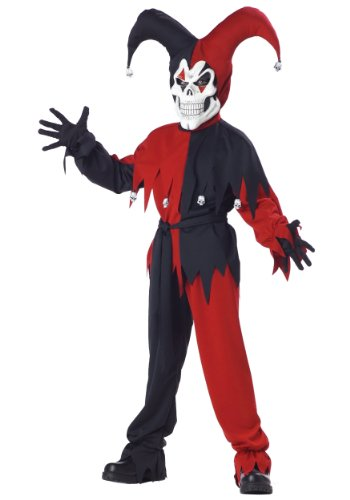 Evil Jester Child Costume Black and Red Scary Halloween Fancy Dress