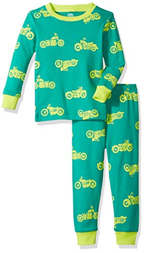 Amazon Essentials Baby Boys Long-Sleeve Tight-Fit 2-Piece Pajama Set, Motorcycle Dark Green/Lime, 18-24M