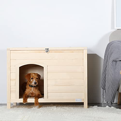"""Petsfit Dog Houses for Medium Dogs Woden Dog House with Door 31"""" Lx20 Wx20 H"""