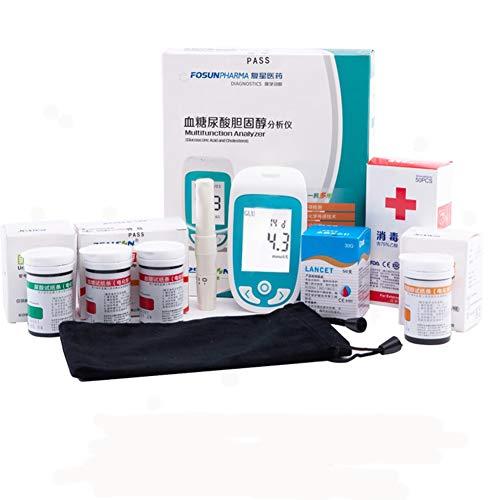 ZJXYYYzj Blutzuckermessgerät 3 in 1 Multifunktions, Cholesterin Blutzucker und Harnsäure-3 in 1 Multi-Tester mit großer LCD-Schirm inklusive und Teststreifen (Color : Monitor 3in1 Strips)