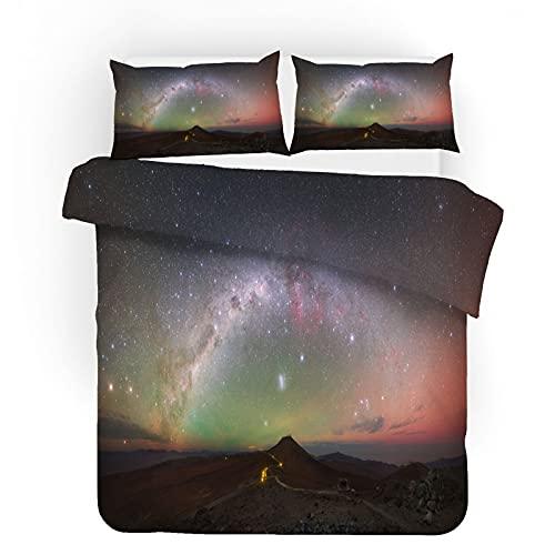 ZJJIAM Preciosa ropa de cama con cielo estrellado, paisaje natural 3D, animación, funda nórdica (1 funda nórdica + 2 fundas de almohada) (1,135 x 200 cm + 2 x 50 x 75 cm).