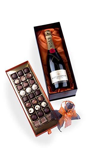 Bengelmann exklusive Präsentpackung mit 28 Pralinen und 0,75l Moet Champagner