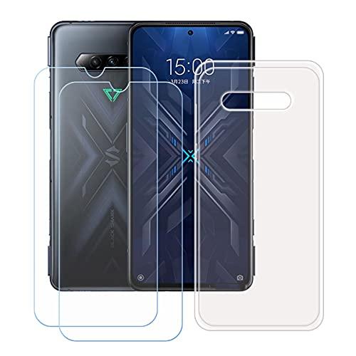 DQG Panzerglas + Hülle für Xiaomi Black Shark 4 Pro,Transparent Cover TPU Handyhülle Silikon Tasche Hülle Schutzhülle - 2 Stück Gehärtetes Glas Schutzfolie für (6.67