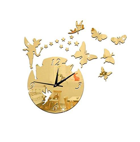 Preisvergleich Produktbild OOFAY& Acrylspiegelwanduhr / Fee und Schmetterling stumm Uhr,  groß 46 * 42cm / klein 31 * 28cm ,  big blonde